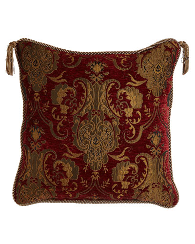 Scarlet Reversible Pillow with Two Beaded Tassels, 20