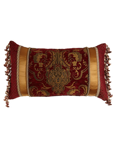 Scarlet Pieced Pillow with Onion Fringe at Sides, 13