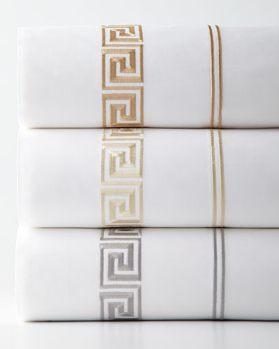 Queen Greek Key Embroidered 200 Thread-Count Flat Sheet