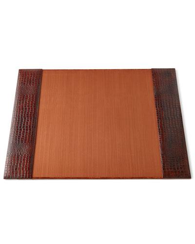 Brown Crocodile-Print Leather Desk Blotter