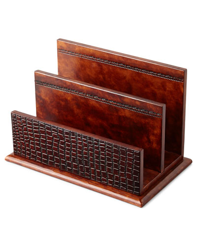 Brown Crocodile-Print Leather Letter Rack