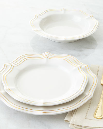 12-Piece Metallic Scalloped Dinnerware Service