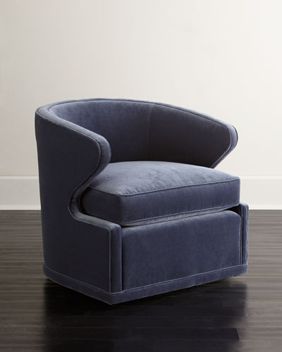 Dyna St. Clair Navy Velvet Swivel Chair