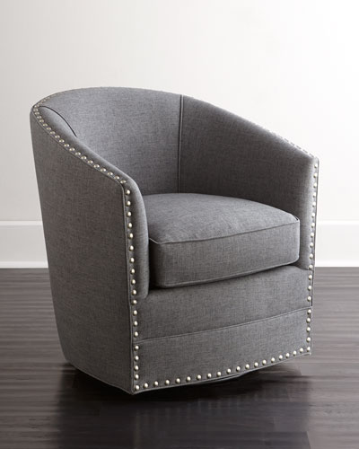 Bryn St. Clair Charcoal Tweed Swivel Chair