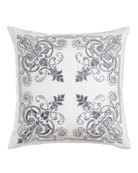 "Troyes Embroidered Accent Pillow, 22""Sq."