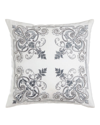 Troyes Embroidered Accent Pillow, 22
