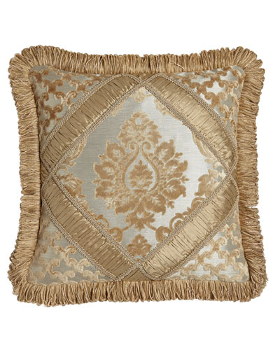 Allure Diamond-Center Pieced Pillow with Fringe, 18