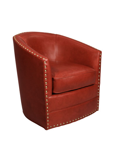 Bryn St. Clair Red Leather Swivel Chair