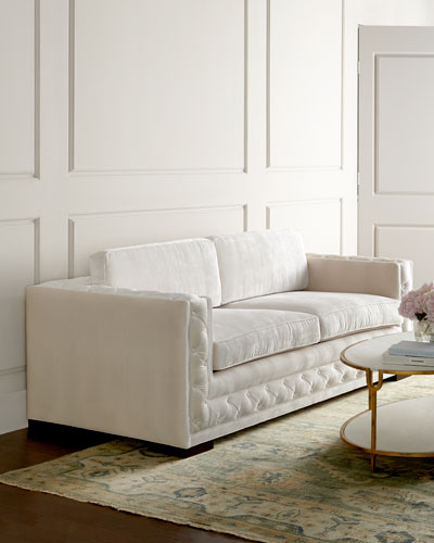 Bently White Tufted Sofa