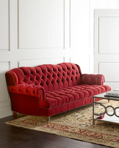Red Tufted Sofa | Neiman Marcus