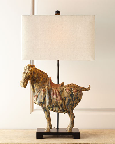 Dynasty Horse Lamps, Set of Two