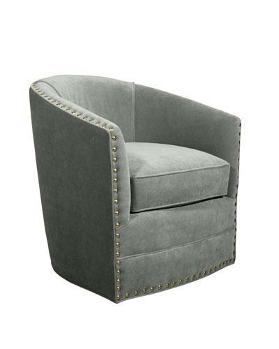 Bryn St. Clair Aqua Velvet Swivel Chair