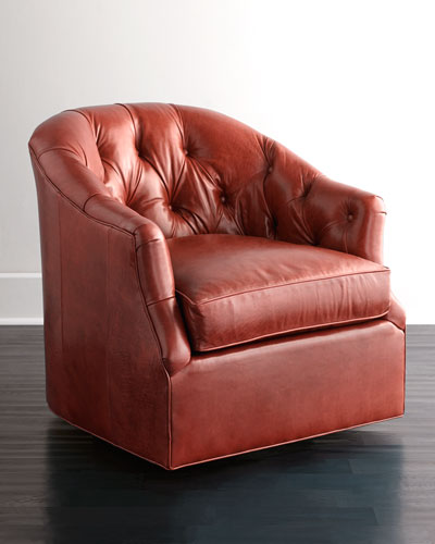 Rae St. Clair Red Leather Swivel Chair