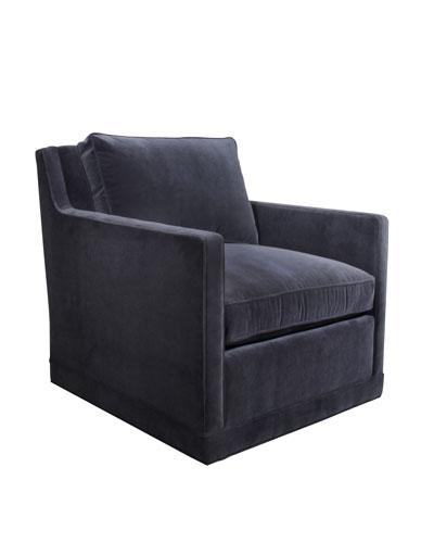 Nina St. Clair Navy Velvet Swivel Chair