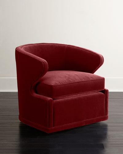 Dyna St. Clair Red Velvet Swivel Chair
