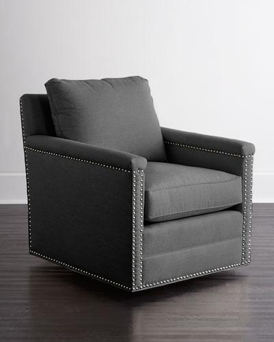 Avis St. Clair Charcoal Tweed Swivel Chair