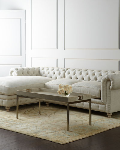 Warner Linen Sectional Sofa, Left-Arm Facing