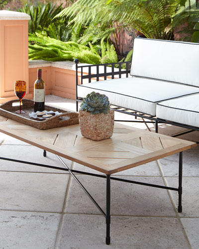 Avery Neoclassical Teak Outdoor Coffee Table