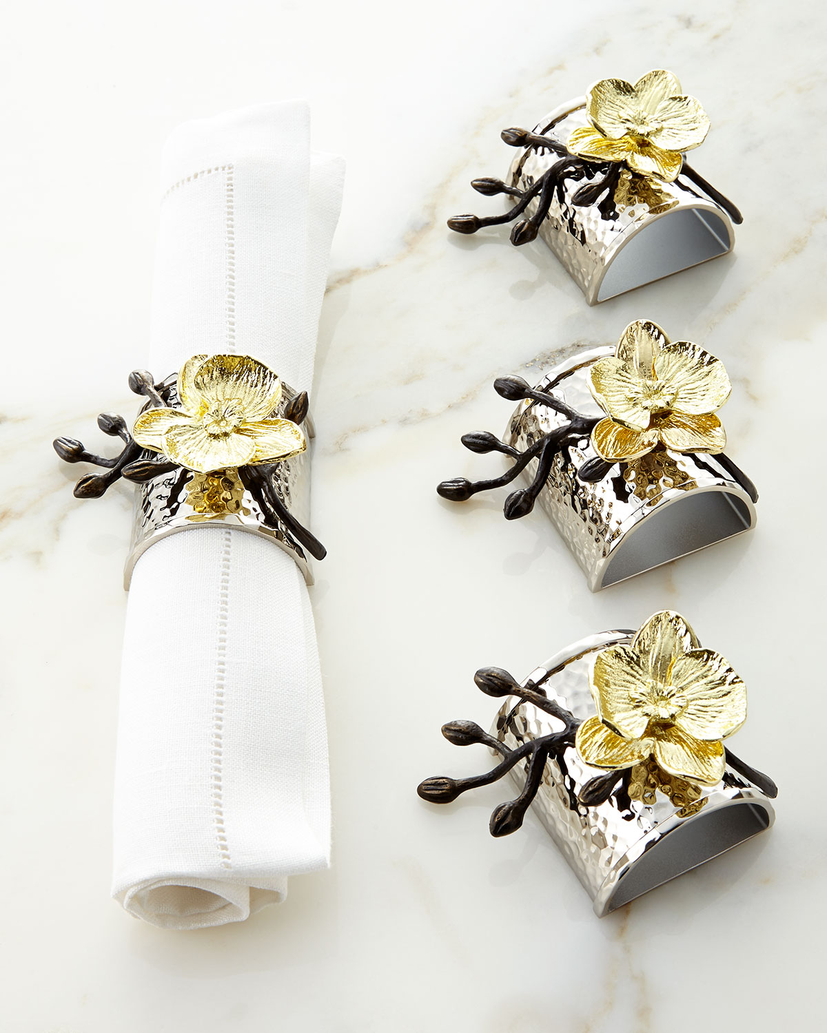 Michael Aram Clothing FOUR GOLD ORCHID NAPKIN RINGS