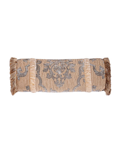 Grace Fringed Neckroll Pillow with Velvet Insets, 7.5