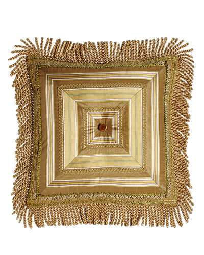 Mitered-Stripe Pillow with Gimp Accents & Bullion Fringe, 18