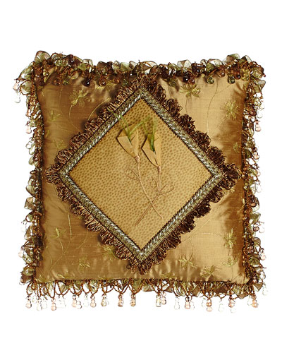 Diamond-Center Pillow with Dimensional Flowers & Ribbon & Bead Fringe, 14