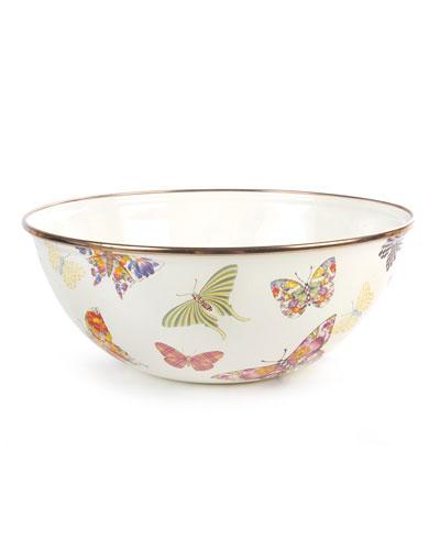 White Butterfly Garden Medium Bowl