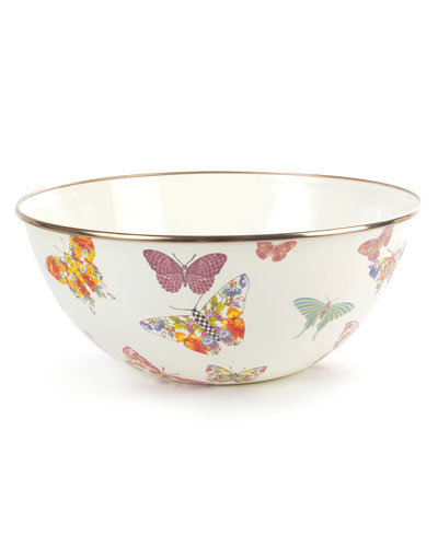 White Butterfly Garden Large Bowl