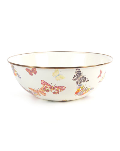 White Butterfly Garden Extra-Large Bowl