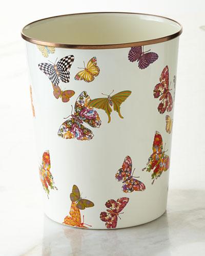 White Butterfly Garden Wastebasket