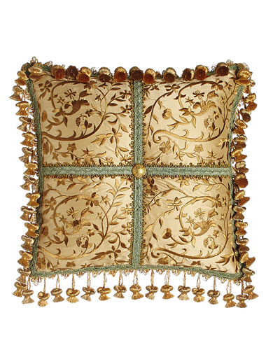 Palazzo Como Embroidered Silk Pillow, 14