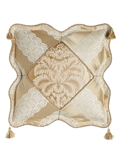 Meriemont Scalloped Pillow with Corner Tassels, 18