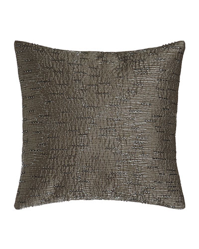 Face Beaded/Embroidered Charcoal/Silver Pillow, 12