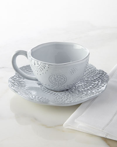 Lace Cups & Saucers, 4-Piece Set