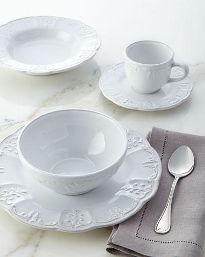 20-Piece White Fleur-de-Lis Dinnerware Service