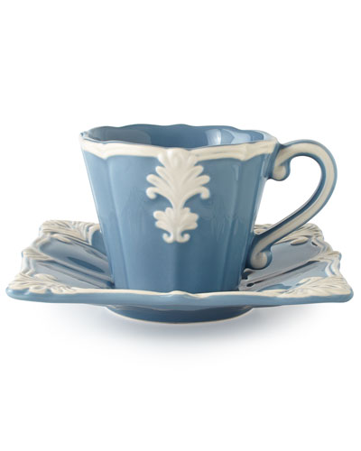 Blue Square Baroque Cups & Saucers, Set of 4