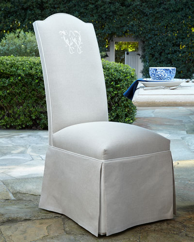 Outdoor Skirted Camelback Chair, Monogrammed