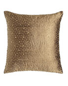 "Beaded Silk Pillow, 17.5""Sq."