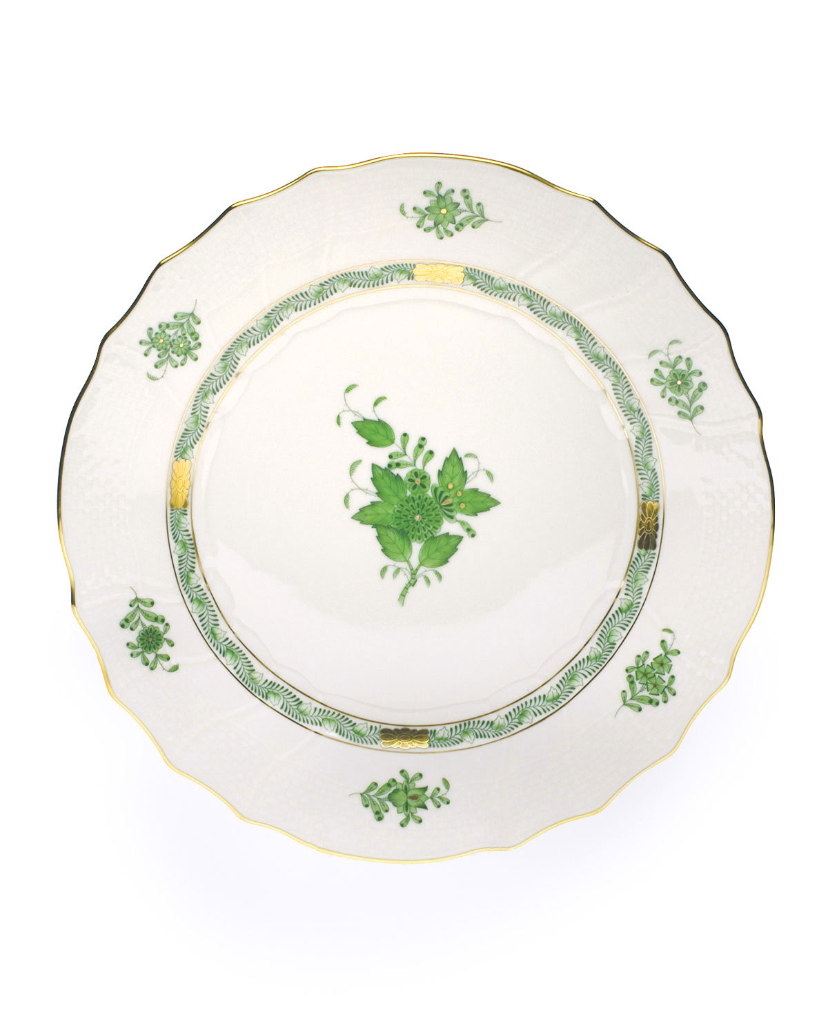 Herend Dinnerwares GREEN CHINESE BOUQUET DINNER PLATE