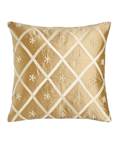Silk Pillow with Beaded Flower/Lattice Design, 17