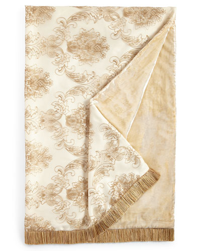 Catania Throw with Embroidered Sheer Overlay, 50