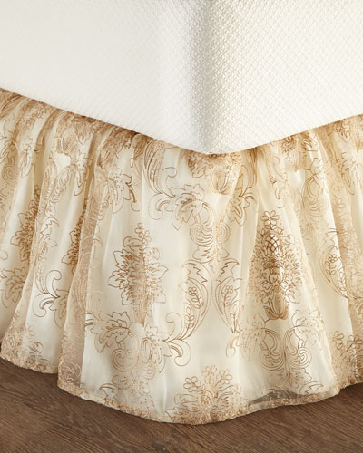 Catania Queen Embroidered Sheer Dust Skirt