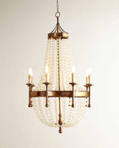 Frosted Crystal-Bead 8-Light Chandelier