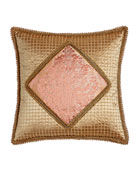 "Rue de L'amour Beaded Pillow with Damask Center, 20""Sq."