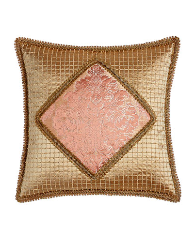 Rue de L'amour Beaded Pillow with Damask Center, 20