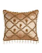 "Rue de L'amour Silk Pillow with Rosettes, 13"" x 14"""