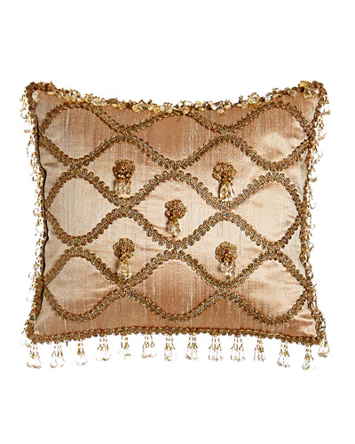Rue de L'amour Silk Pillow with Rosettes, 13