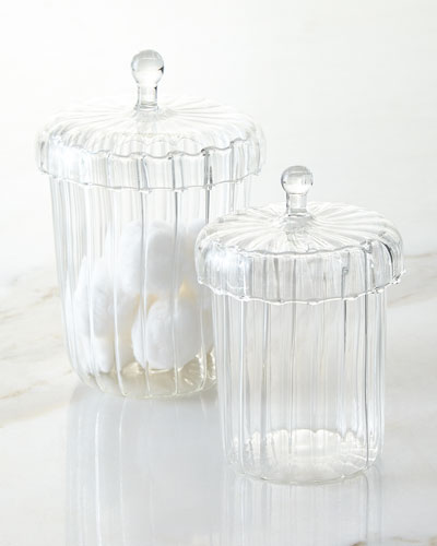 Set of Two La Boheme Apothecary Jars with Ribbed Optic Design