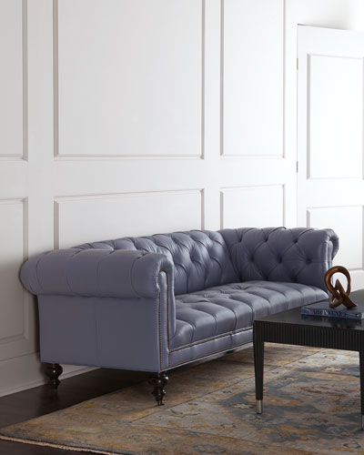 Morgan Periwinkle Chesterfield Leather Sofa