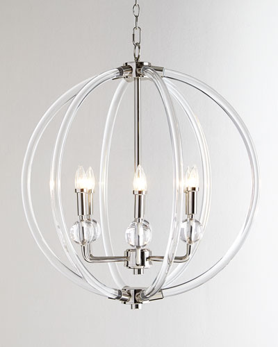 Lucite Silver 6-Light Pendant